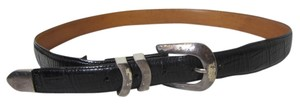 Onyx Nite Onyx Black Textured Leather Belt with Silvertone Hardware Size 38