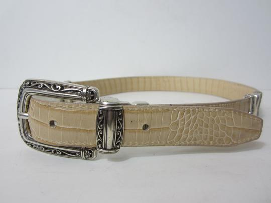 Unknown White & Beige Leather Reversible Belt with Silver-tone Hardware SIze M/3035