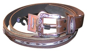 Nocona Reduced! Western Silver Concho Fancy Belt Oversized Unisex Leather Free Shipping