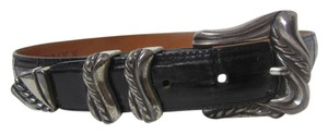Onyx Nite ONYX Black Leather Belt with Silvertone Detailed Hardware