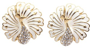Unknown White Enamel Peacock Earrings Free Shipping