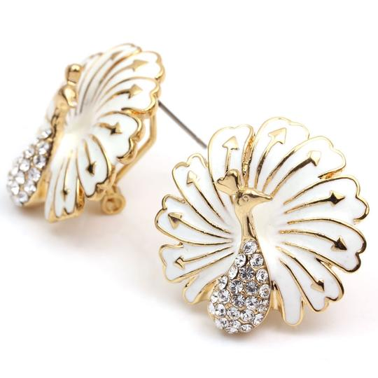 Unknown BOGO Free White Enamel Peacock Earrings Free Shipping