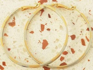 Bogo Free Large Two Tone Hoop Earrings Free Shipping