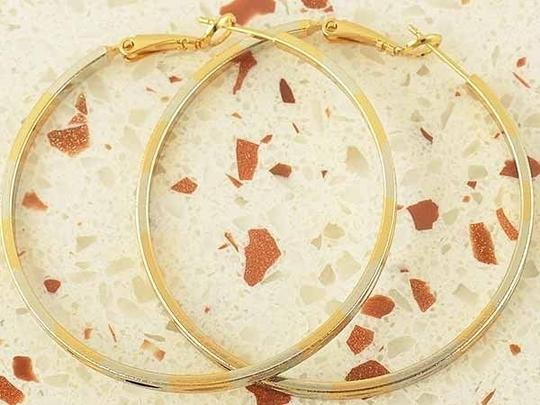 Gold/Silver Bogo Free Large Two Tone Hoop Free Shipping Earrings