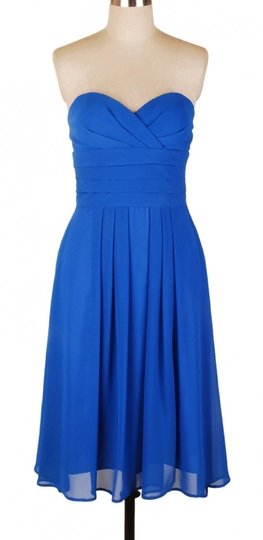 Blue Chiffon Strapless Pleated Waist Slimming Feminine Bridesmaid/Mob Dress Size 6 (S)