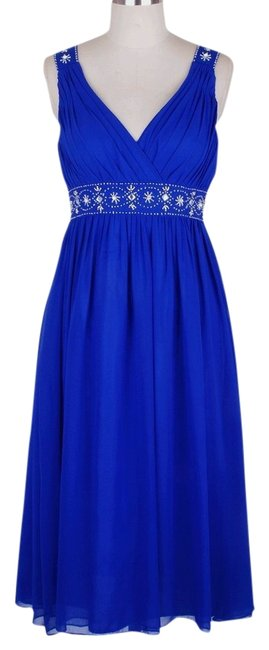 Preload https://img-static.tradesy.com/item/805166/blue-chiffon-embellished-pleated-v-neck-mid-length-formal-dress-size-8-m-0-0-650-650.jpg