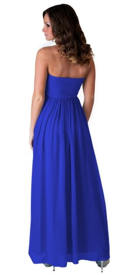 Blue Chiffon Strapless Sweetheart Long Formal Bridesmaid/Mob Dress Size 8 (M) Image 1