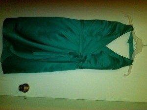 Alfred Angelo Green Satin 7125 Modern Bridesmaid/Mob Dress Size 8 (M)