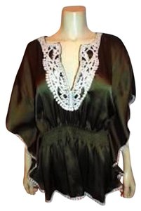 Other Dress Lace Trim P295 Summersale Top BROWN, IVORY