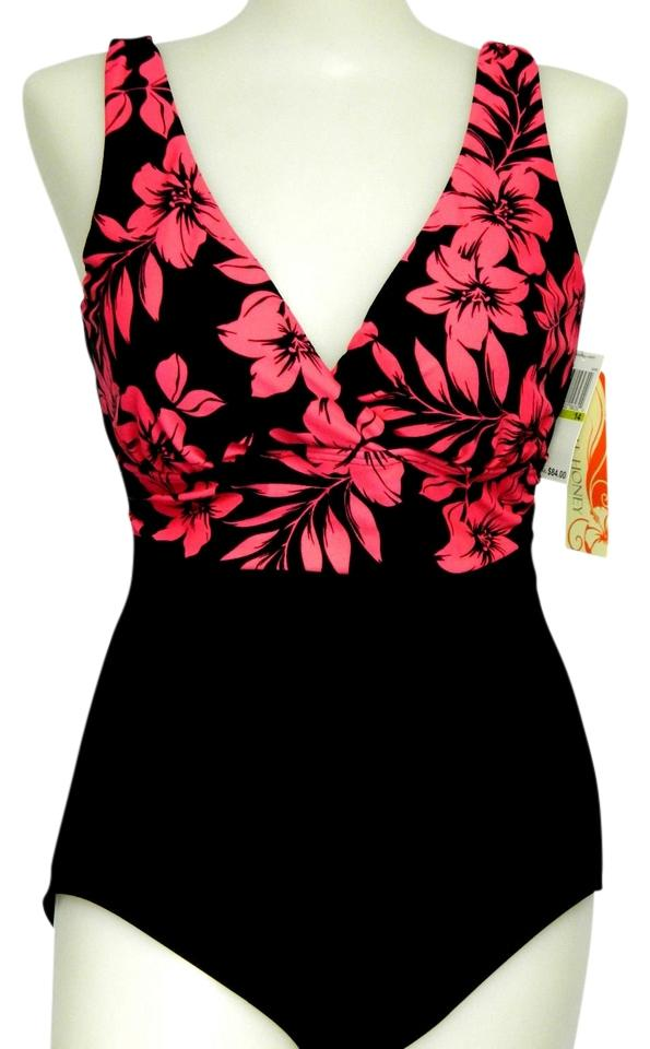 9e4ff5f904 Tropical Honey Black W Pink Floral Top Twice Swimsuit Slimming Shape Text  Holding Power One-piece Bathing Suit. Size: 12 ...