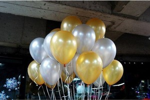Gold and Silver 120 Pcs - & Birthday Party Decor Latex Balloons Table Top Arch Ceremony Decoration