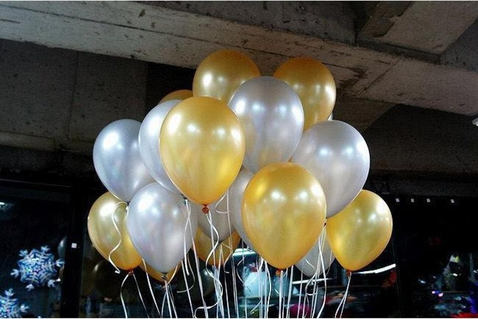 Gold And Silver 120 Pcs Birthday Party Decor Latex Balloons Table Top Ceiling Arch Ceremony Decoration