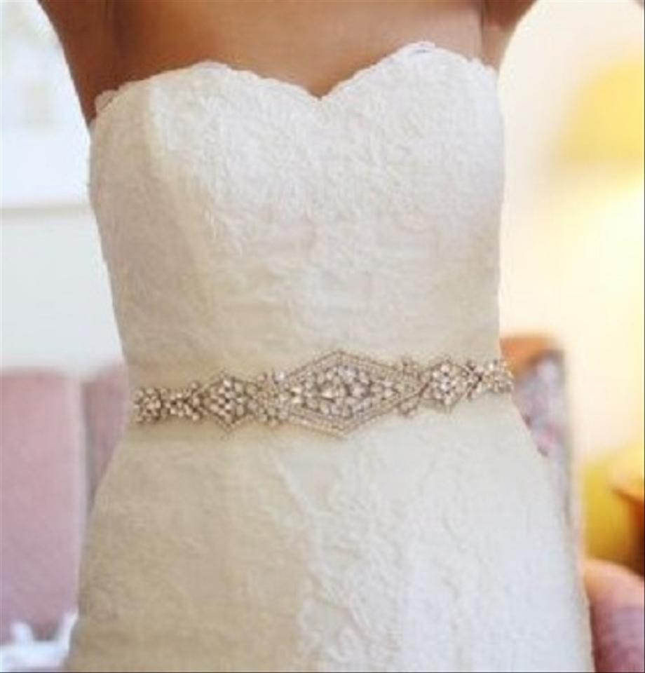 Natalia bridal sash beaded sash wedding dress sash crystal for Wedding dress belt sash