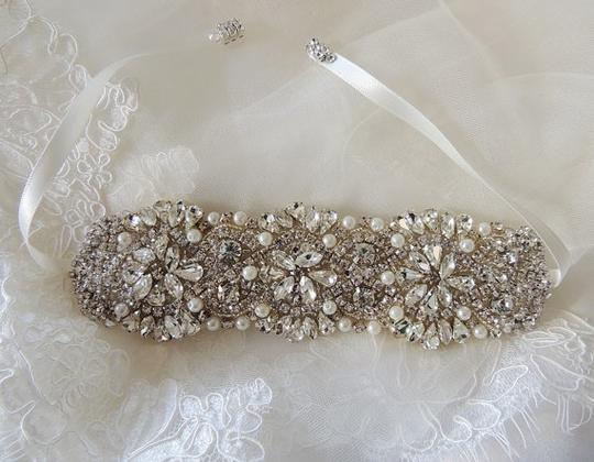 Alla Wedding Bridal Rhinestones Crystal Bracelet Cuff With Ribbon Closure