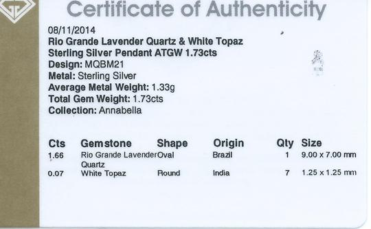 Other Genuine Lavender Quartz and White Topaz Sterling Silver Pendant, 1.73cts w/Certificate of Authenticity Image 2