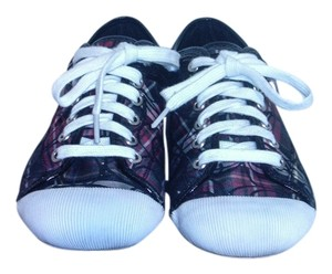 Coach Zorro Plaid Fashion Sneakers Maroon, Red, Black, Green, White Athletic