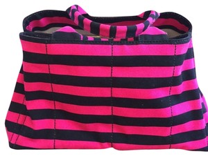 Prada Black & Pink Stripe Beach Bag