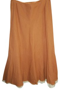 Christopher & Banks & A-line Lined Yoked Casual Wear Career Wear Maxi Skirt Rust