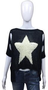 Other Distressed Star White Black Sweater
