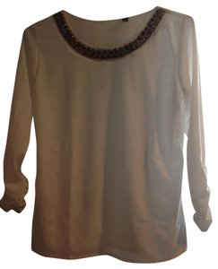 Elementz Ivory Embellished Shine Studded Top White