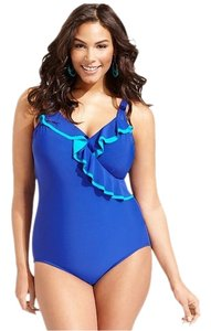 INC International Concepts Swimsuit 8 NWT INC International Concepts Royal Blue Ruffle Slimming 1PC Piece