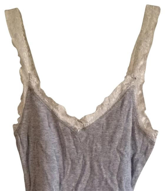 Express Lace Lace Trim Top Gray