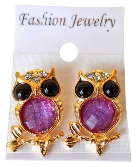 Other Owl golden purple stone stud earring