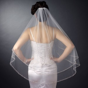 Elegance By Carbonneau Two Layer Beaded Edge White Fingertip Wedding Veil