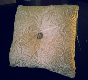 White/Ivory Lace and Brooch Ring Bearer Pillow