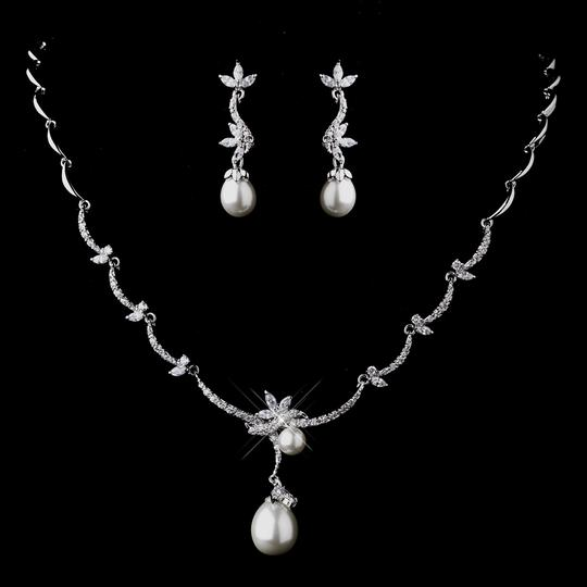 Elegance By Carbonneau Cz And White Pearl Wedding Jewelry Set