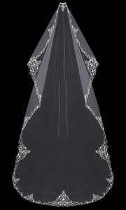 EnVogue Bridal Cathedral Mantilla Wedding Veil V704c-m In White