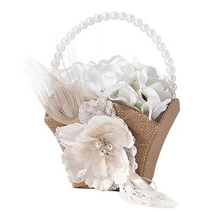 Burlap And Lace Flower Basket
