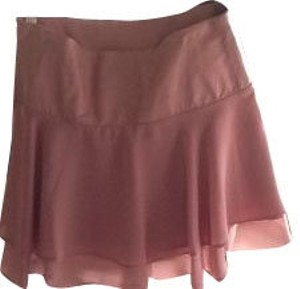 bebe Leather Waistband With 2 Layer Ruffle Mini Skirt pale pink