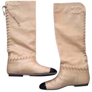 Chanel Kneehigh Laceup Leather Tan/Beige Boots