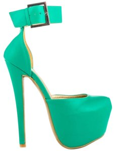 Shoe Republic LA Stiletto Heel Seagreen Pumps