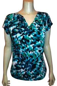 Vintage Suzie Size Medium Abstract Stretch Top BLUE GREEN WHITE