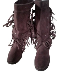 Moccasin Studded Front Leather Fringed Brown Boots