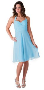 Blue Halter Sweetheart Pleated Waist & Bust Chiffon Dress