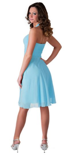 Blue Chiffon Halter Sweetheart Pleated Waist Feminine Bridesmaid/Mob Dress Size 2 (XS)