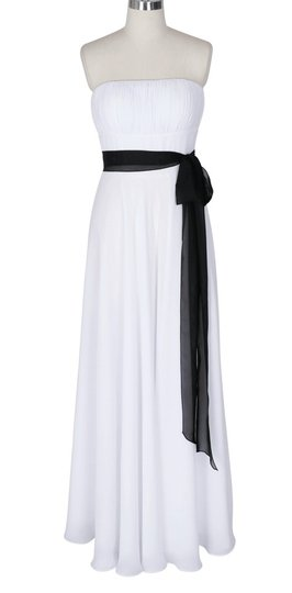 White Chiffon Strapless Long Pleated Bust W/ Sash Destination Wedding Dress Size 6 (S)