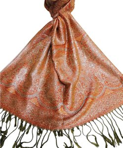 Vecceli Italy NEW Orange Shiny Slik Blend Pashmina Scarf - Free Shipping