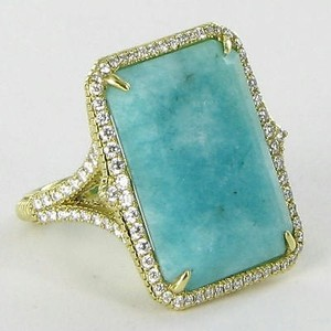 Judith Ripka Judith Ripka Amazonite Ring 0.76cts Diamonds 18k Yellow Gold