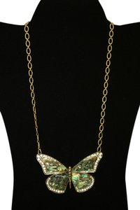 Fossil Rare Fossil Gold Tone Blue Green Marble Bayou Abalone Rhinestone Butterfly Statement Necklace