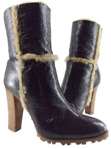 Casadei Espresso or White Leather & Shearling Accented Boots