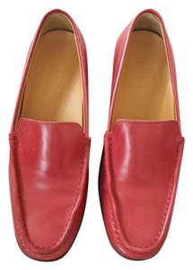 Tod's Loafers Leather Slip-on red Flats