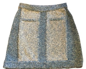 Rag & Bone Boucle Sweater Mini Mini Skirt Blue & Cream