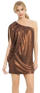 Aidan Mattox Metallic One Shoulder Dress
