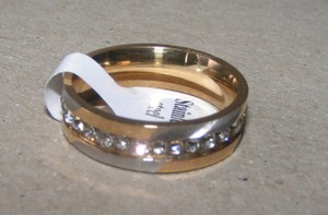 2 Tone Brushed Stainless Steel Eternity Ring Free Shipping