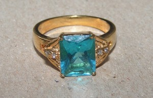 Emerald Cut Blue Topaz Fashion Ring Free Shipping