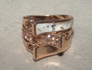 Rose Gold Enamel Champagne Topaz Fashion Ring Free Shipping